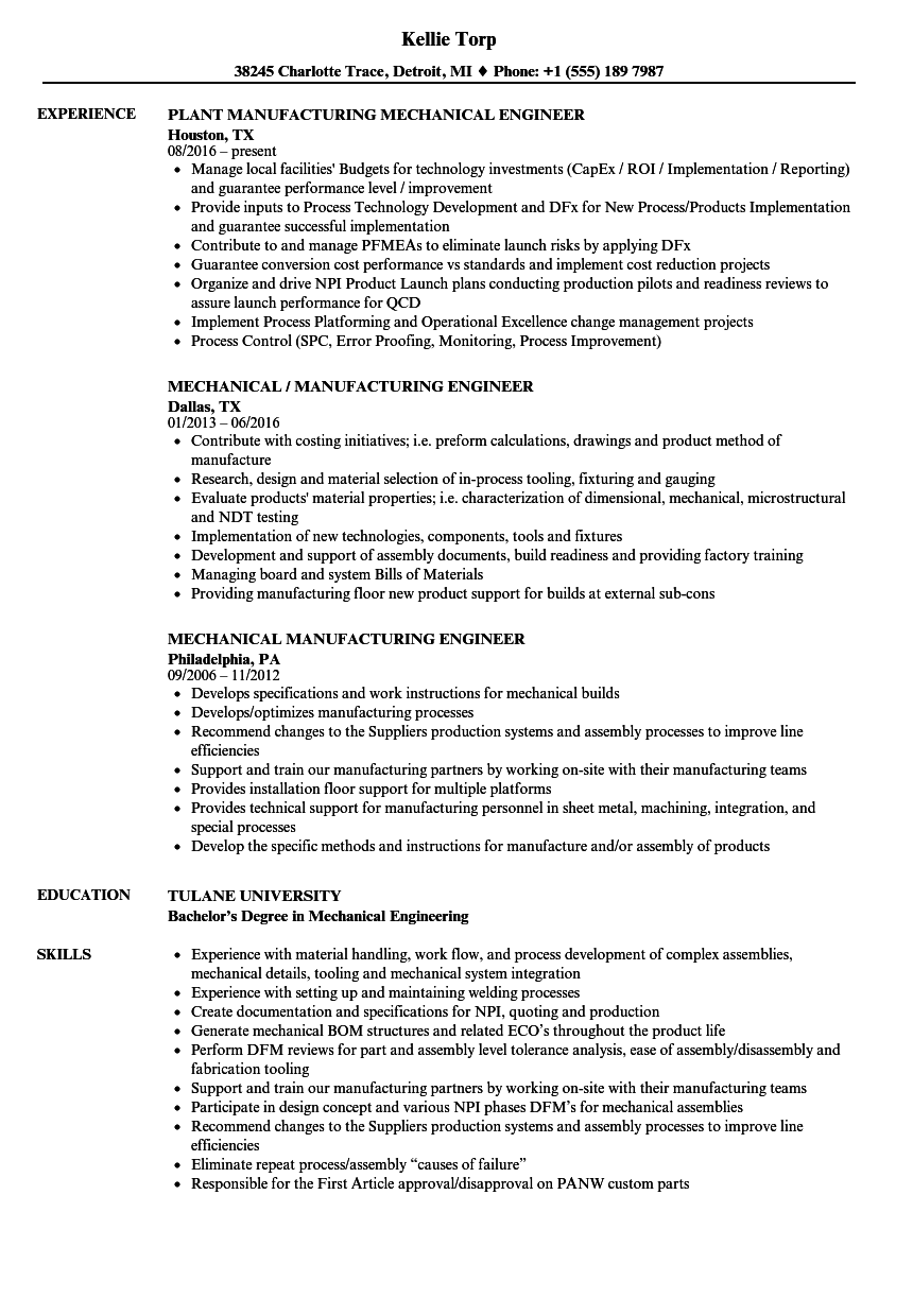 Mechanical Manufacturing Engineer Resume Samples Velvet Jobs