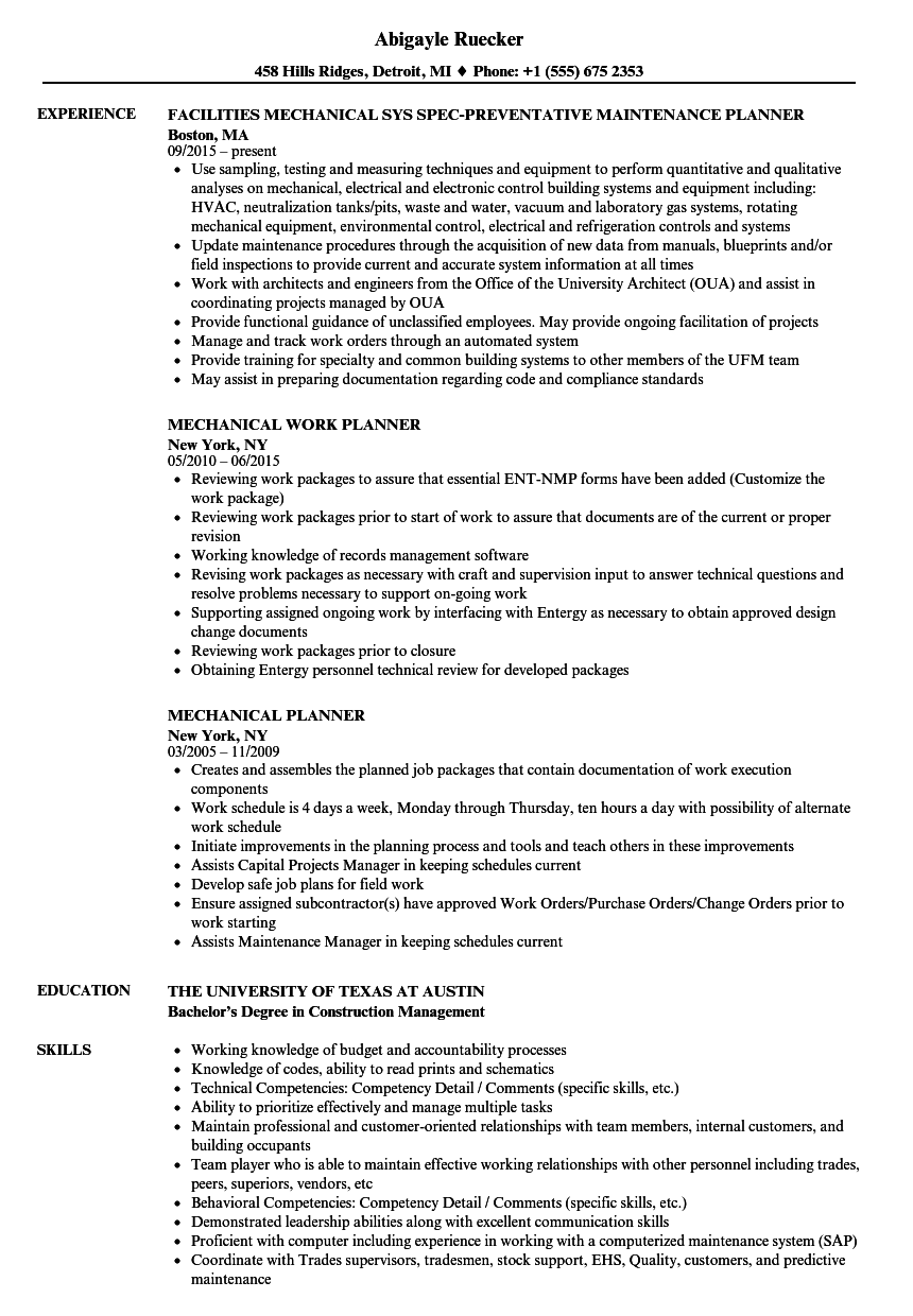 Mechanical Planner Resume Samples | Velvet Jobs