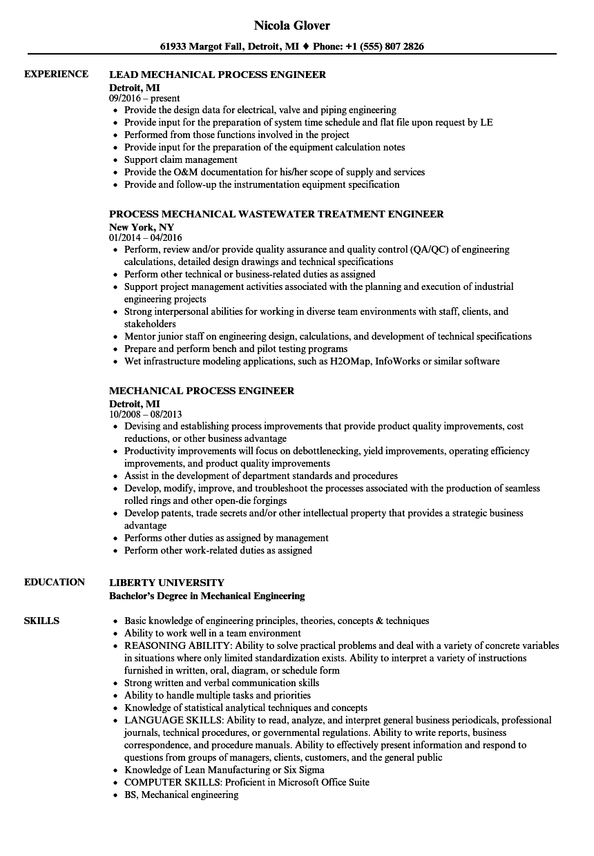 Mechanical Process Engineer Resume Samples Velvet Jobs