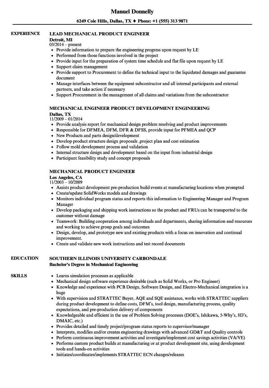 Mechanical Product Engineer Resume Samples Velvet Jobs