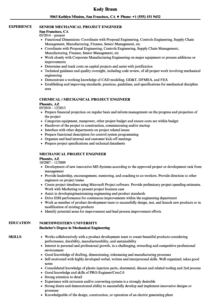mechanical project engineer resume samples velvet jobs