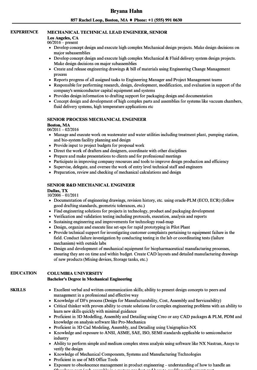 Mechanical / Senior Mechanical Engineer Resume Samples | Velvet Jobs