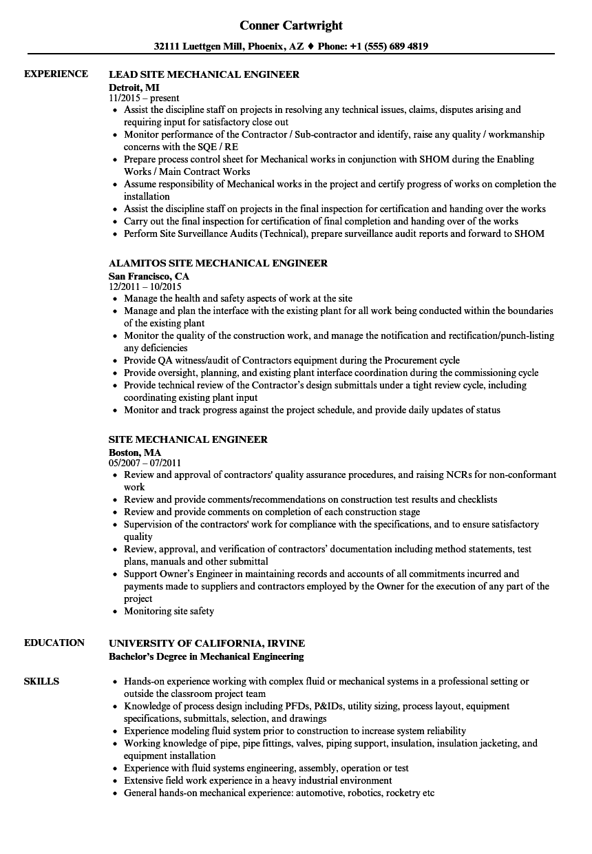 Mechanical Site Engineer Resume Samples Velvet Jobs