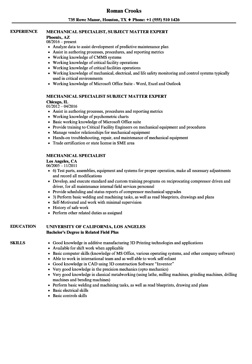 Mechanical Specialist Resume Samples Velvet Jobs