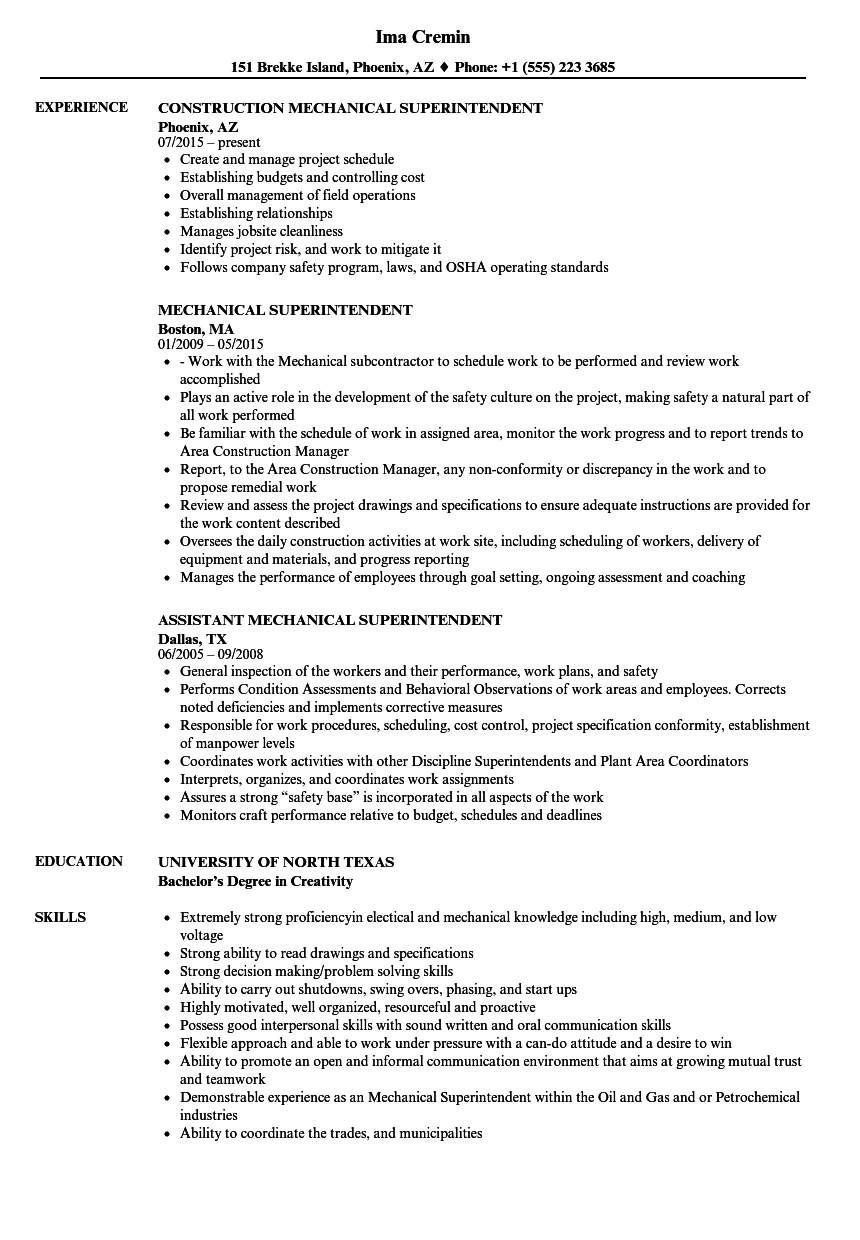 Download Mechanical Superintendent Resume Sample As Image File