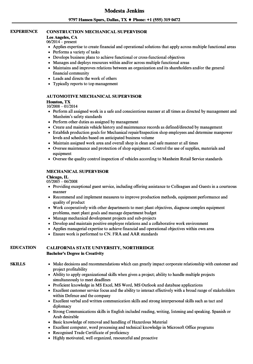 mechanical supervisor resume samples
