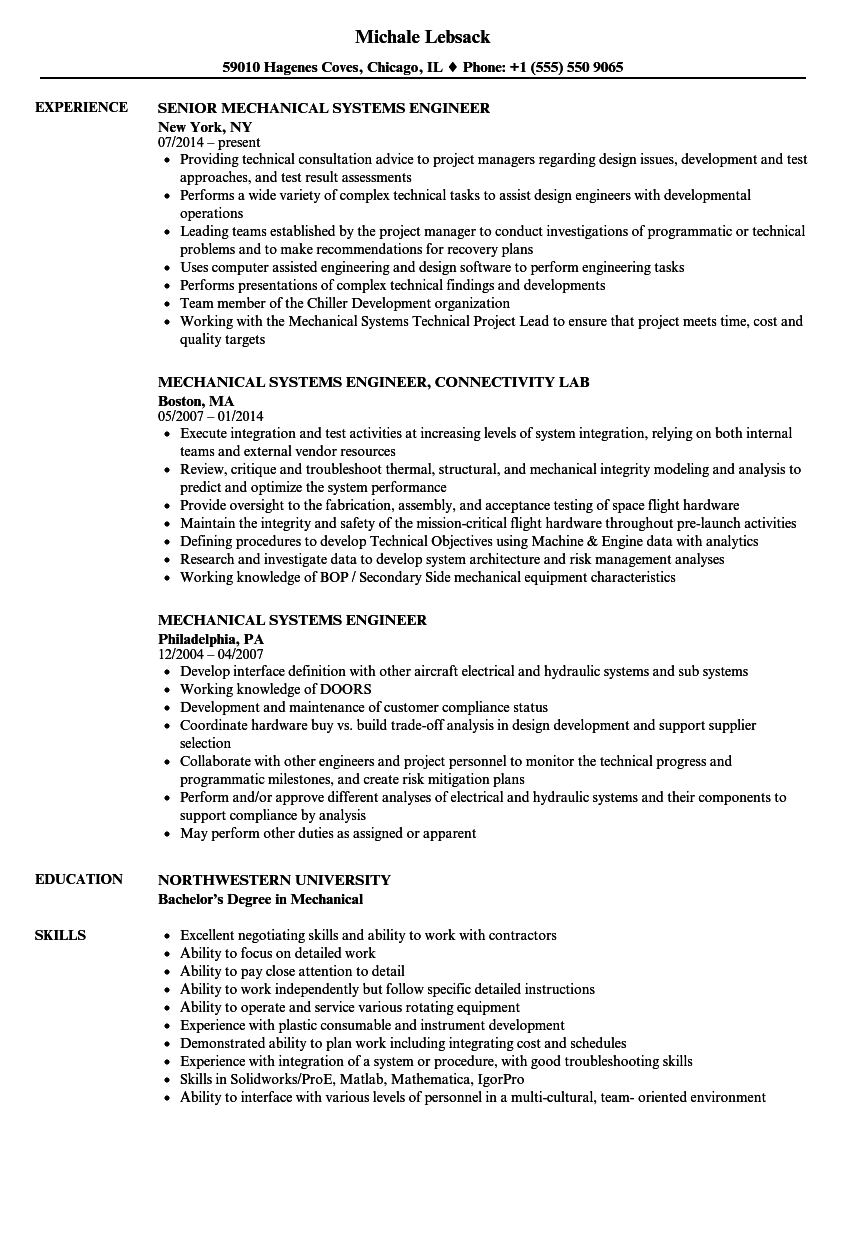 mechanical systems engineer resume samples