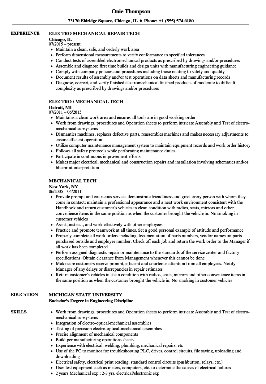 mechanical tech resume samples