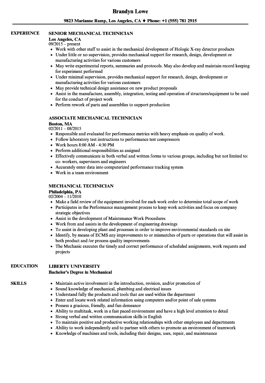 Mechanical Technician Resume Samples Velvet Jobs