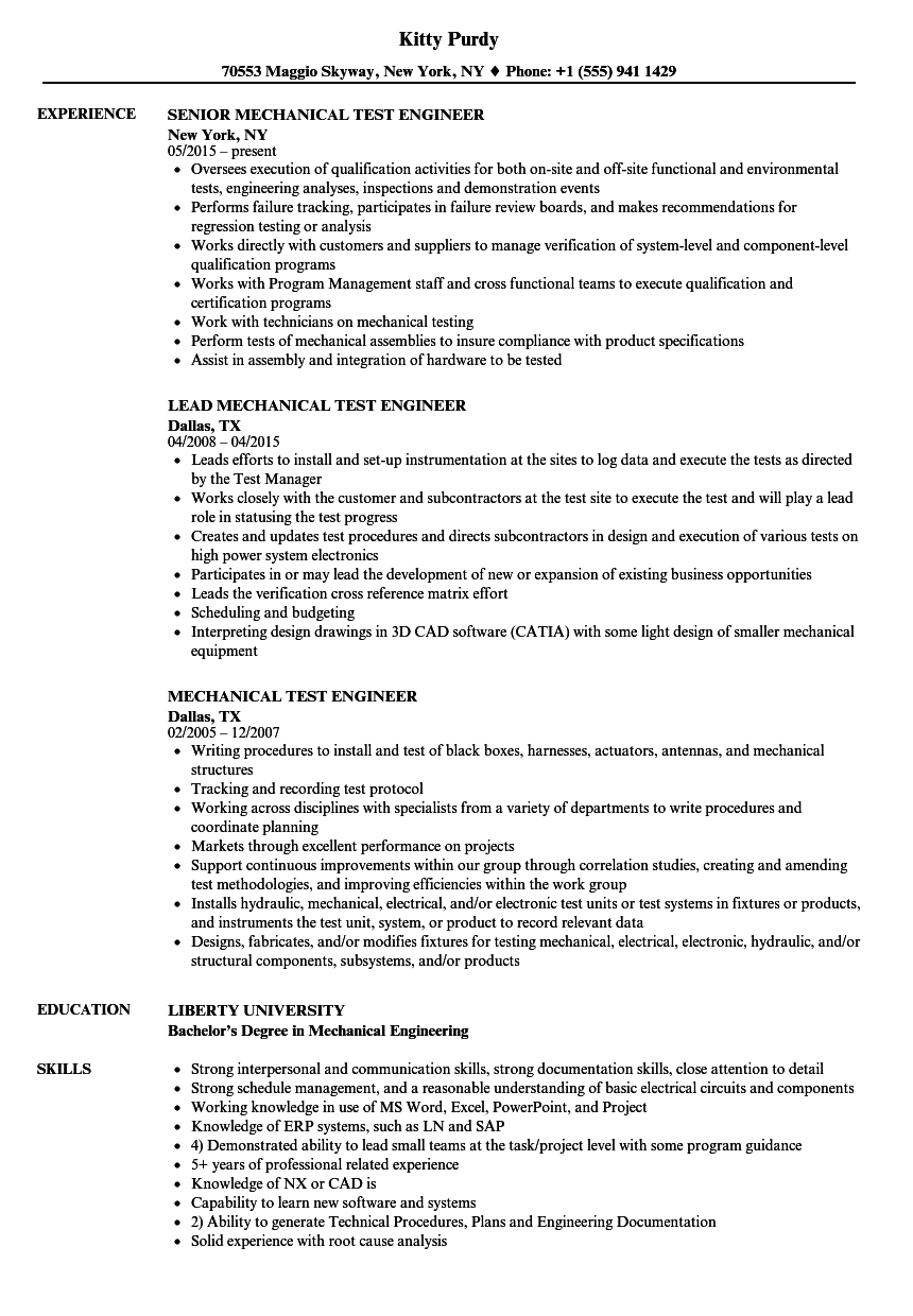 mechanical test engineer resume samples