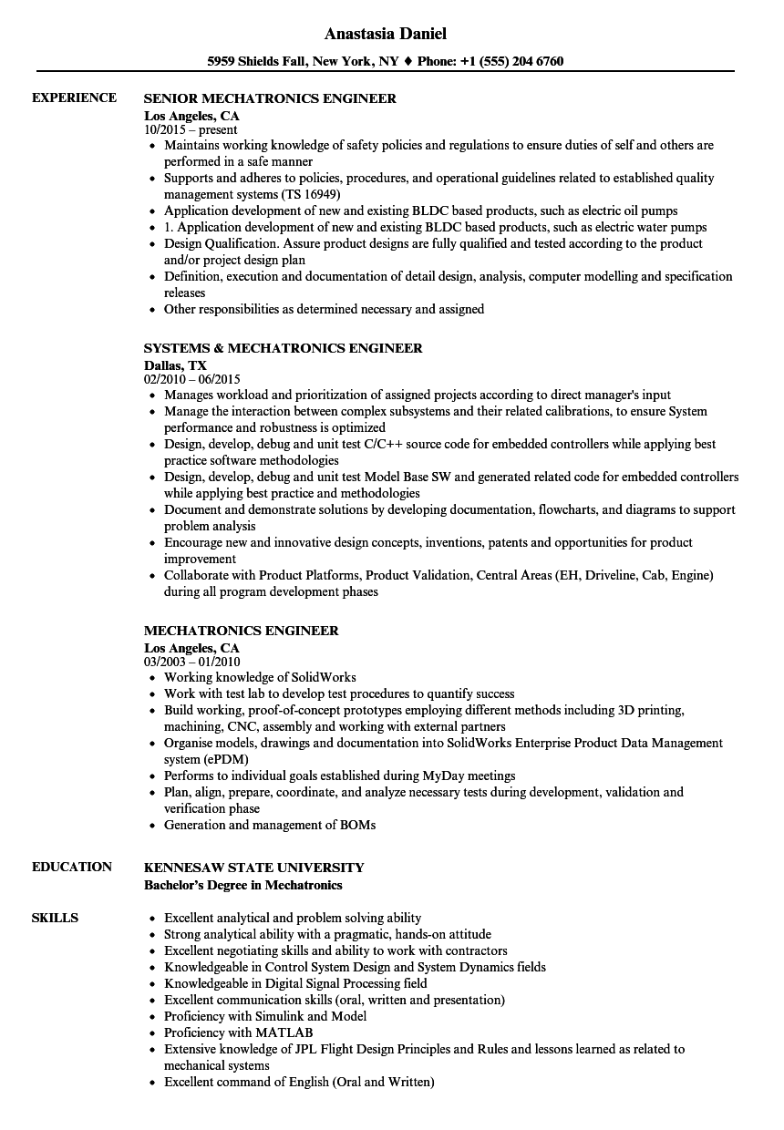mechatronics engineer resume samples