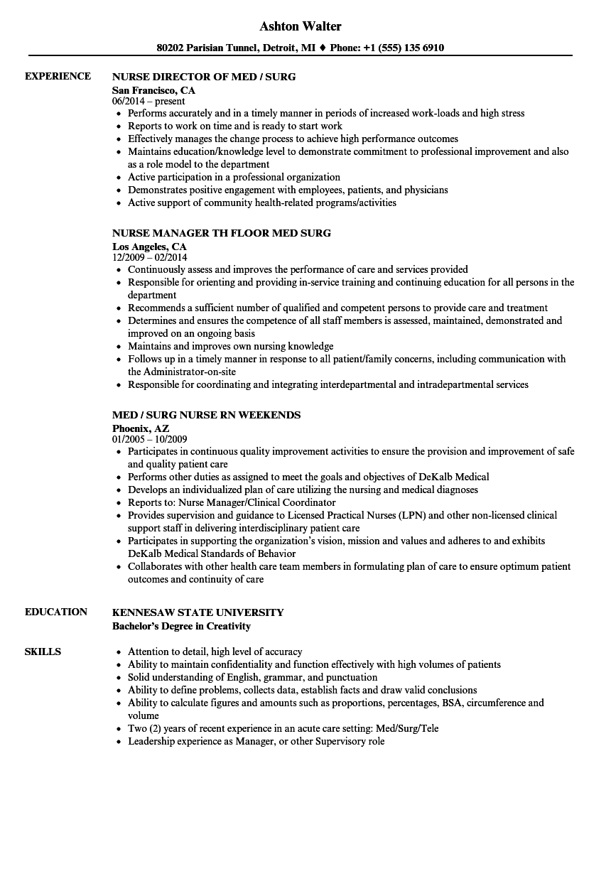 med surg nurse resume samples velvet jobs