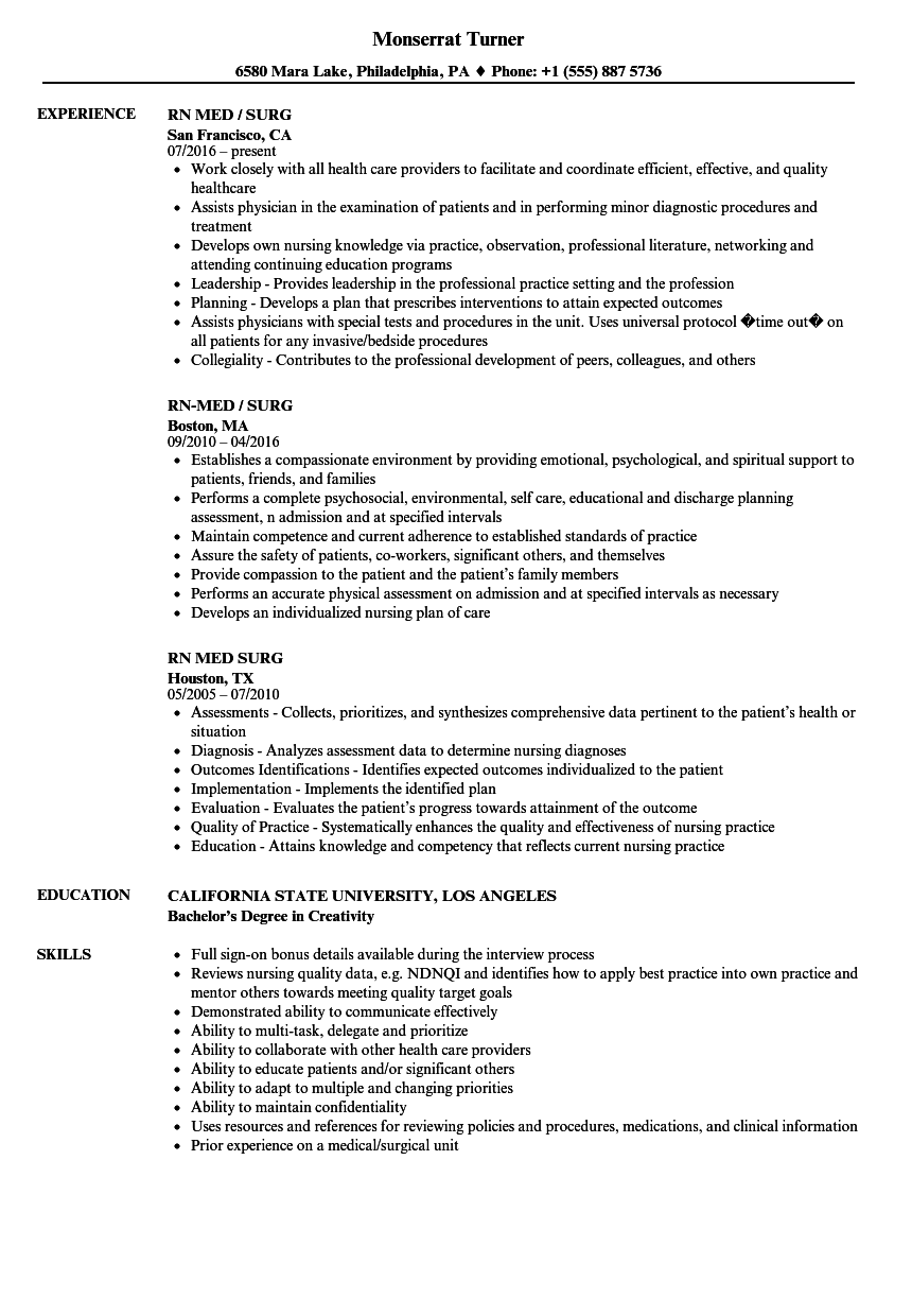 med surg rn resume samples
