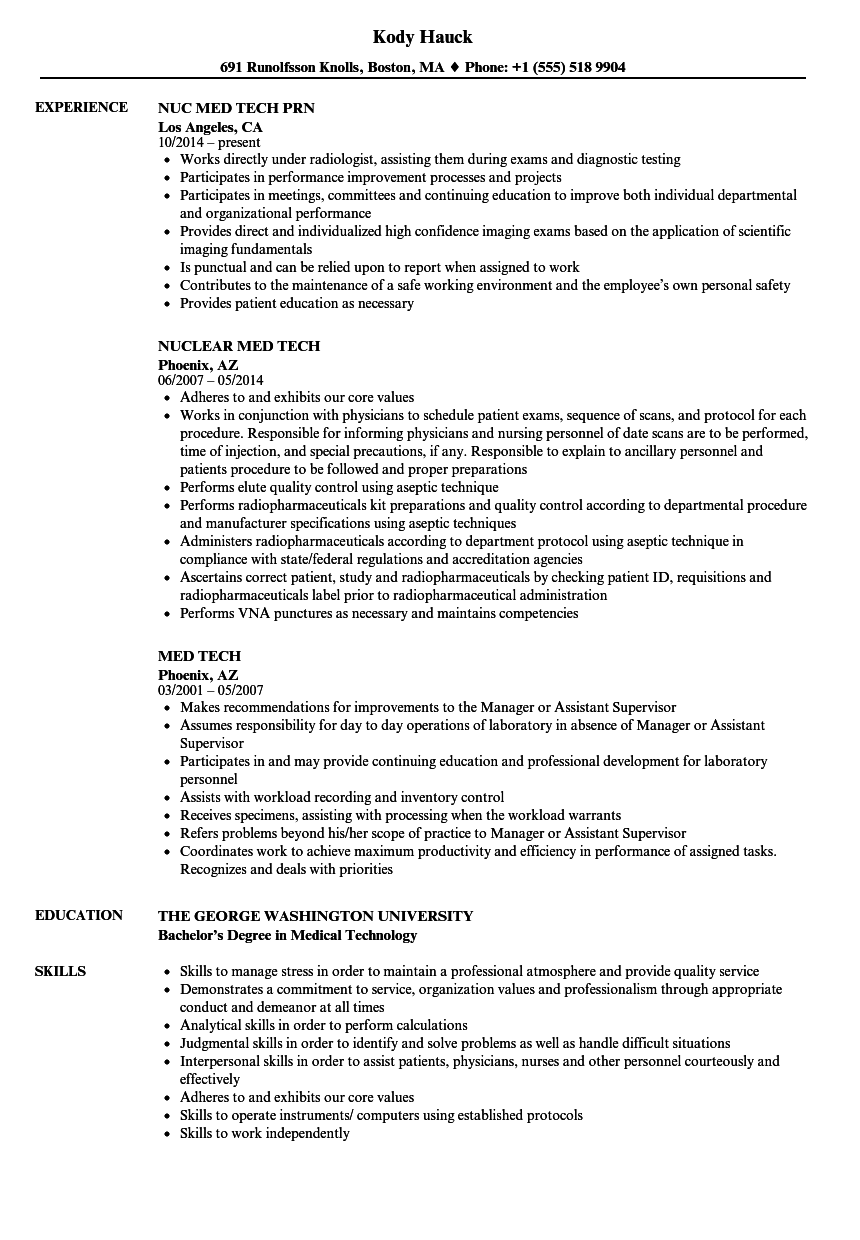 Download Med Tech Resume Sample As Image File