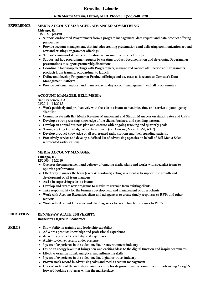 Media Account Manager Resume Samples | Velvet Jobs