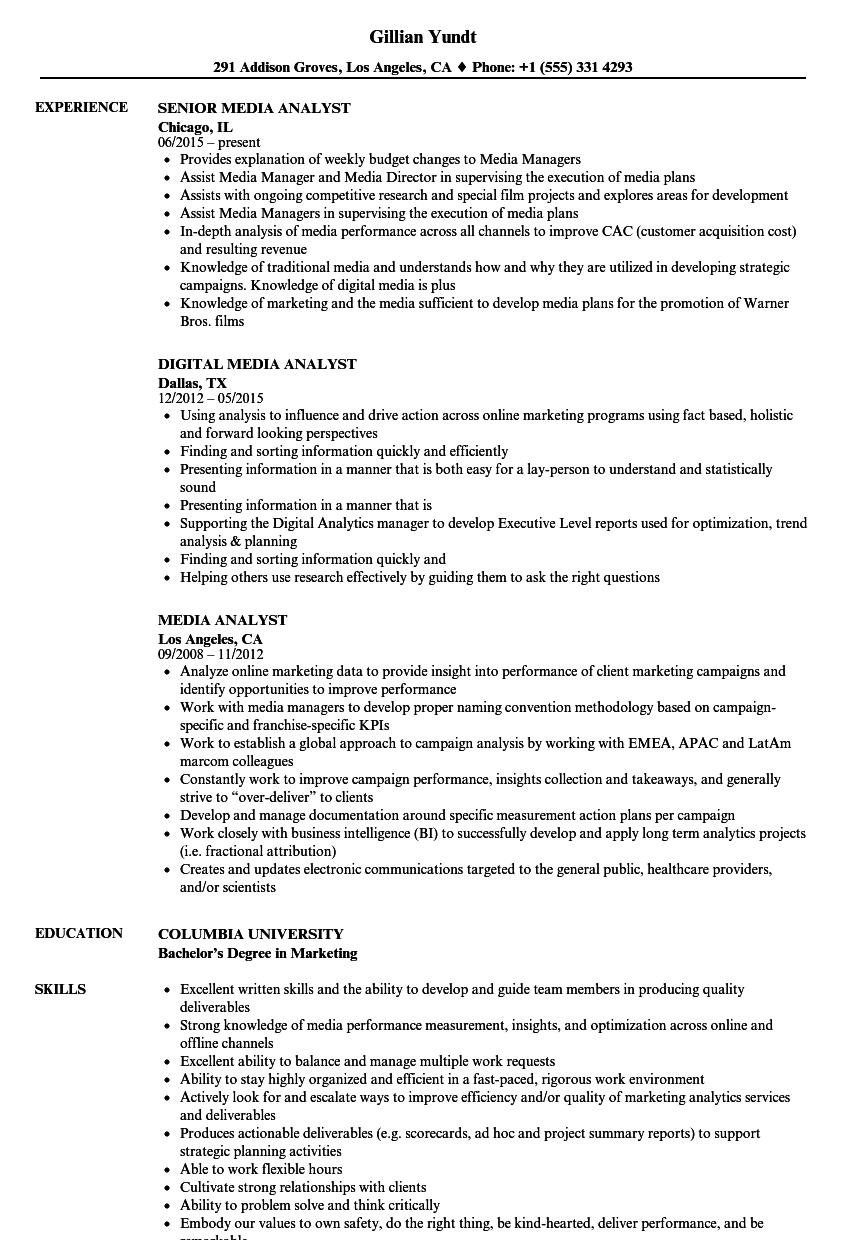 Great Download Media Analyst Resume Sample As Image File
