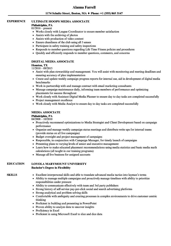 Download Media Associate Resume Sample As Image File