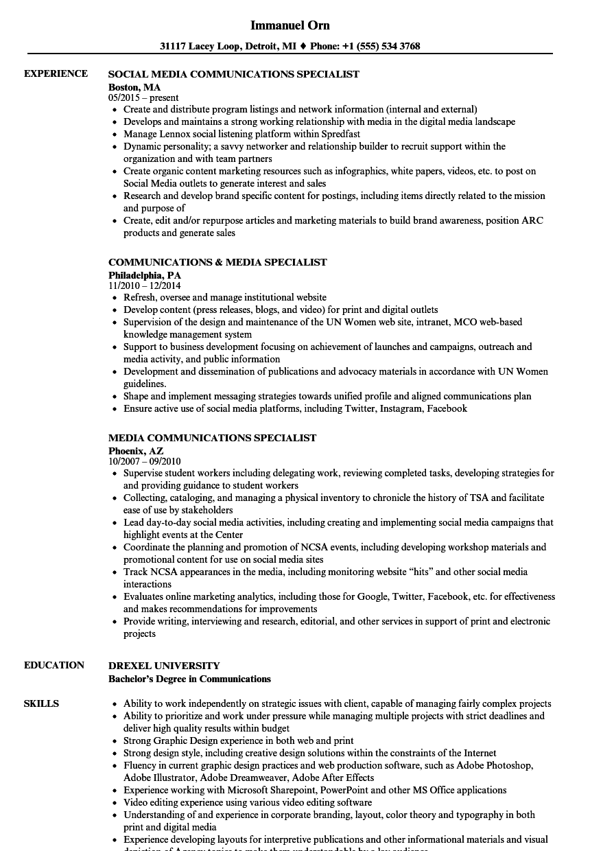 media communications specialist resume samples