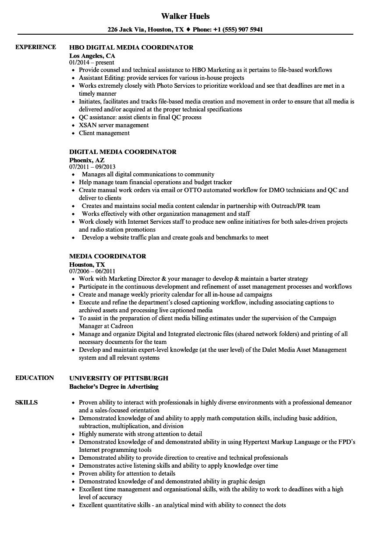 media coordinator resume samples
