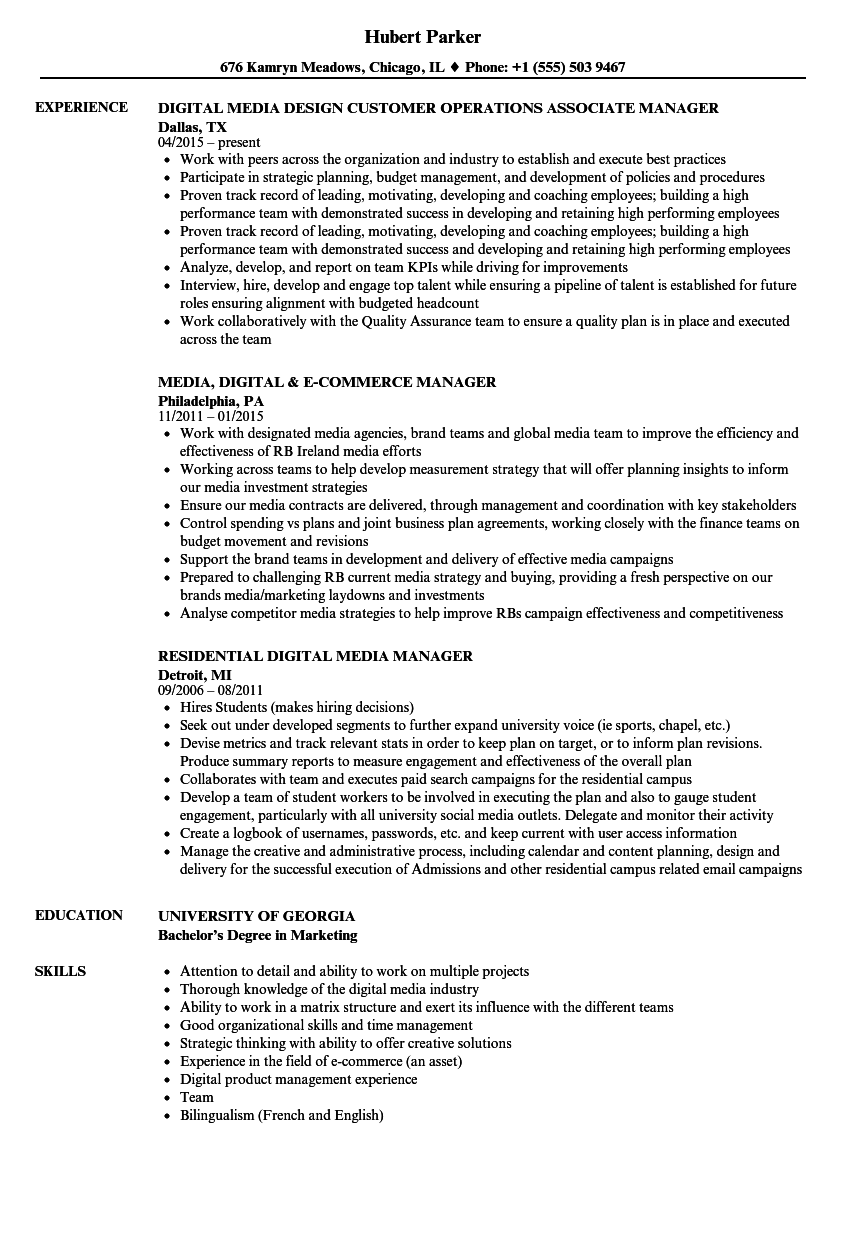 media    digital manager resume samples