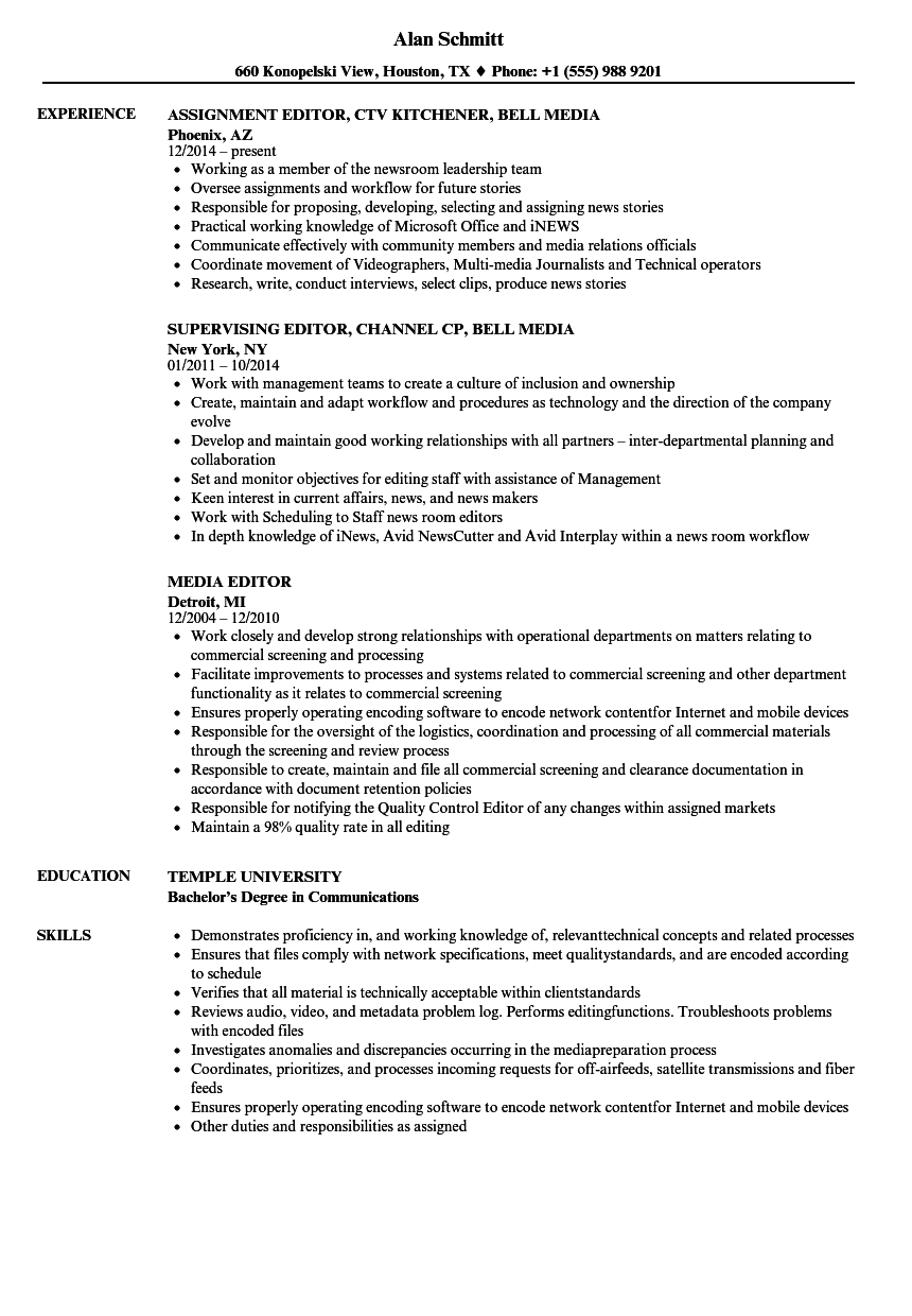 Media Editor Resume Samples | Velvet Jobs