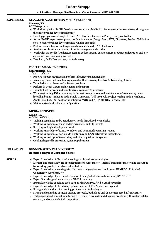 Media Engineer Resume Samples | Velvet Jobs