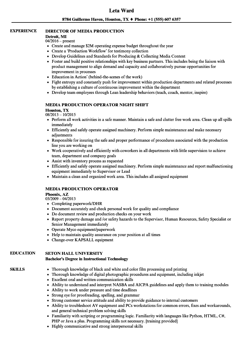 media production resume samples velvet jobs