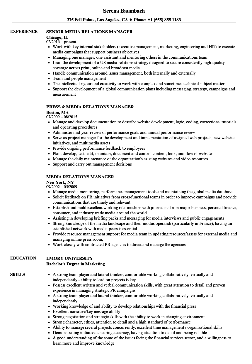 media relations manager resume samples