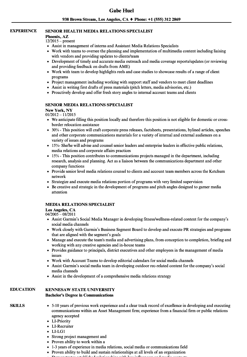 media relations specialist resume samples