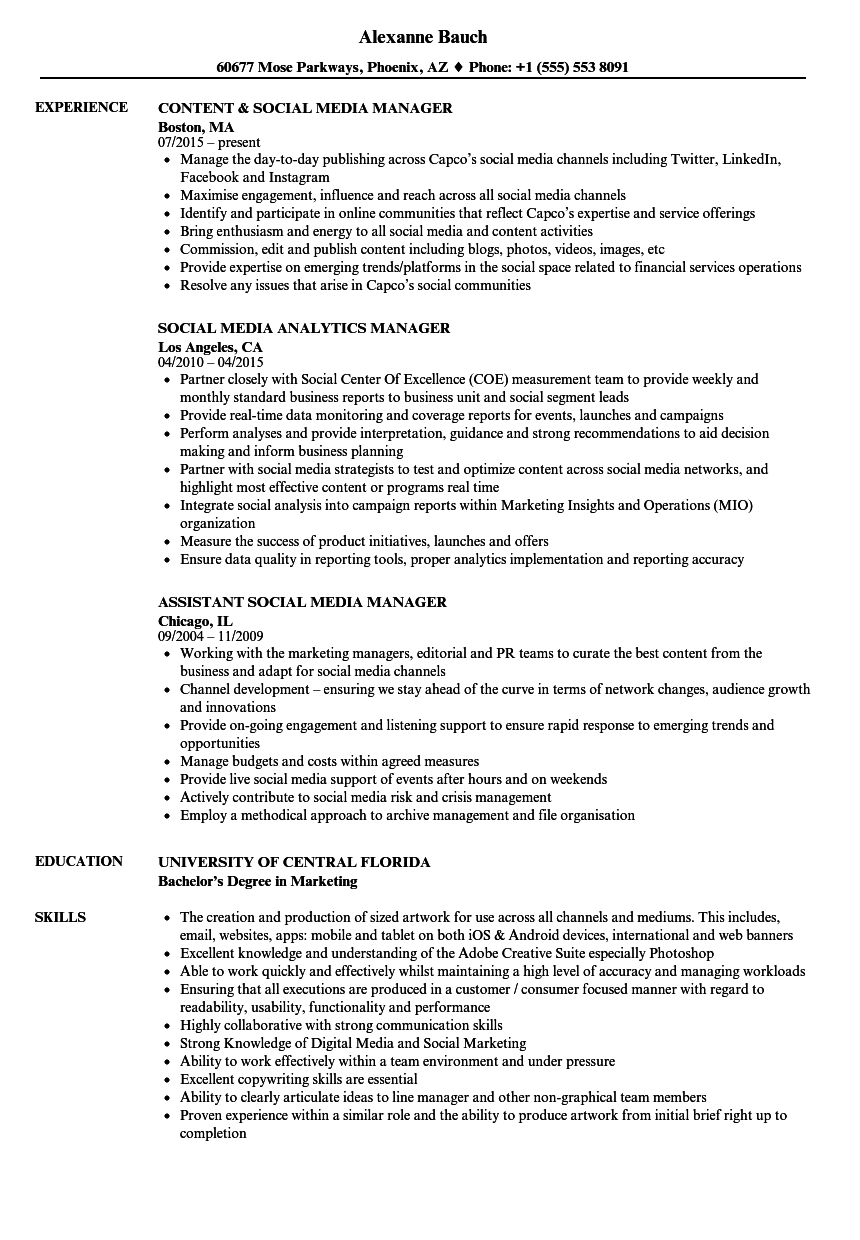media  u0026 social media manager resume samples