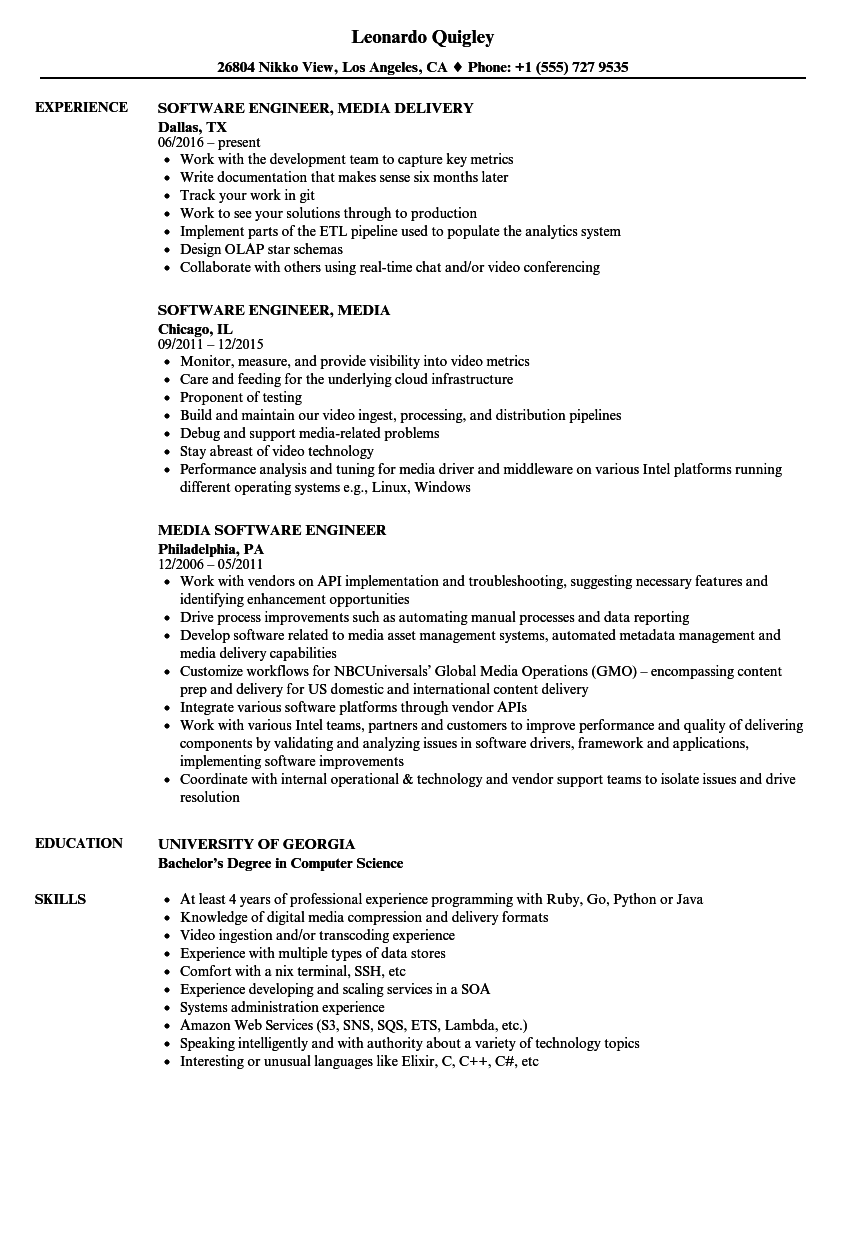 Media Software Engineer Resume Samples Velvet Jobs