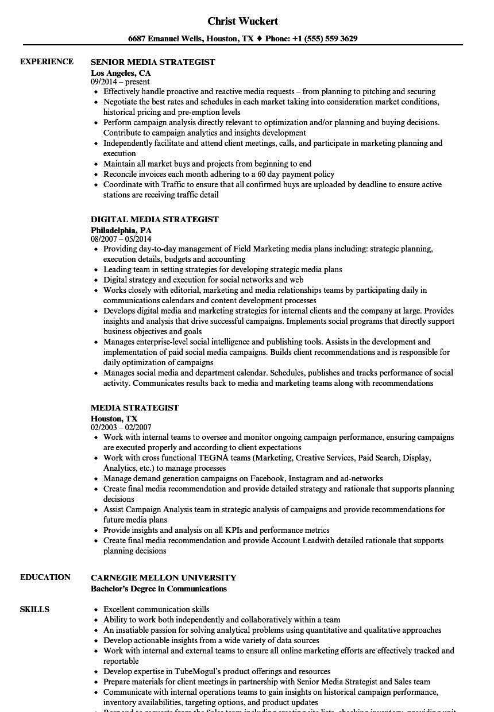 Media Strategist Resume Samples | Velvet Jobs