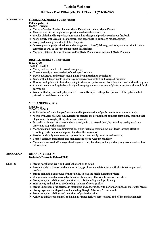 media supervisor resume samples