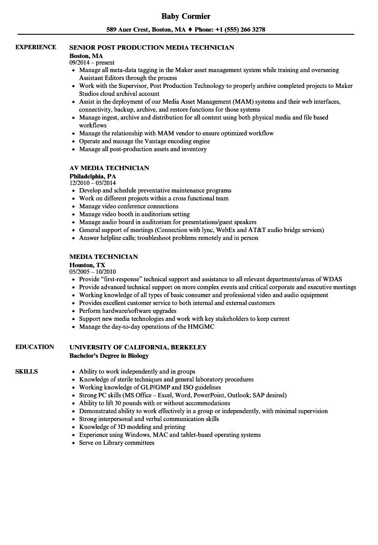 download media technician resume sample as image file