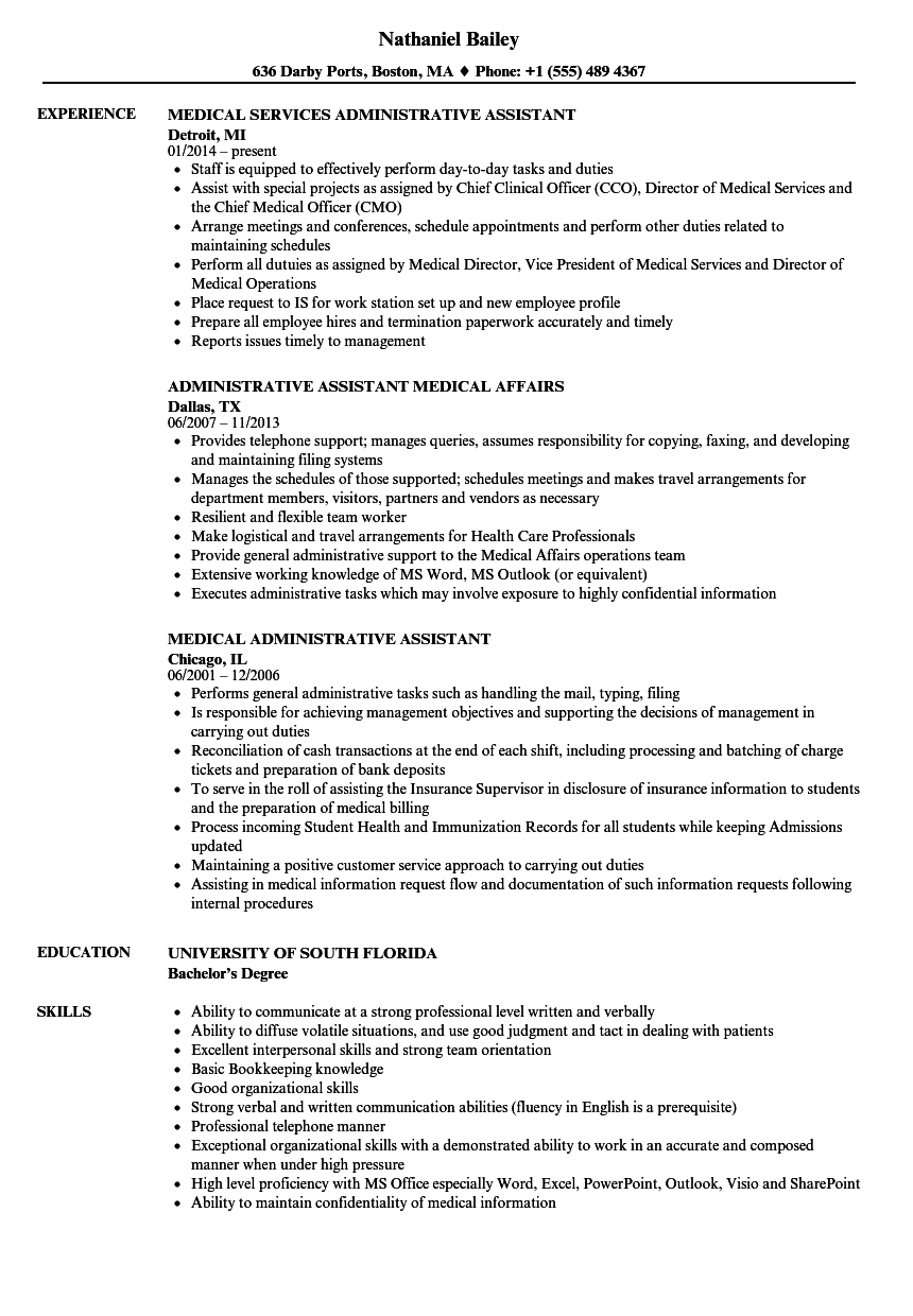 resume templates for medical administrative assistant