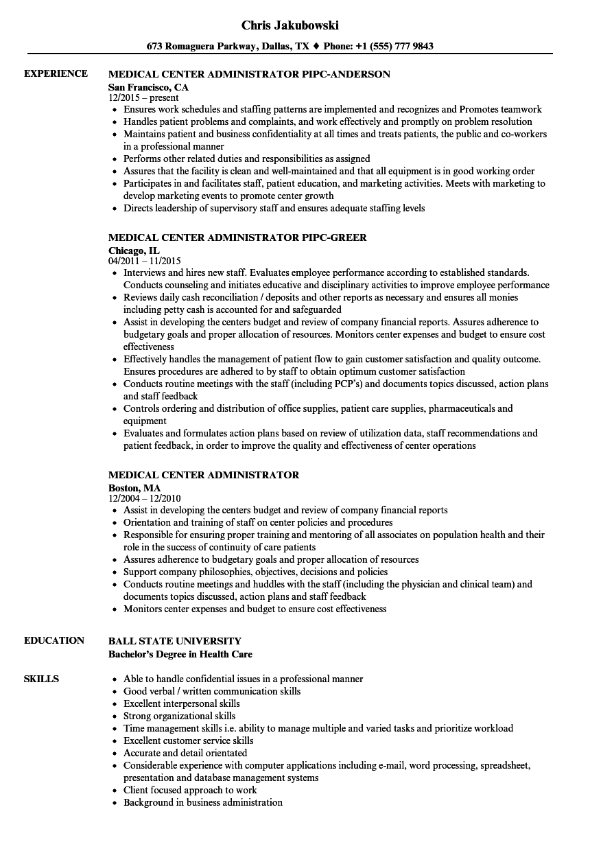 Download Medical Administrator Resume Sample As Image File
