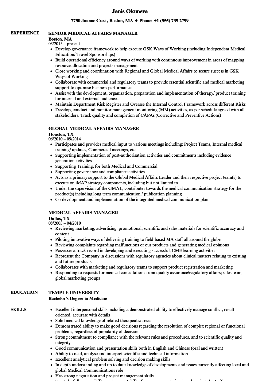 medical affairs manager resume samples