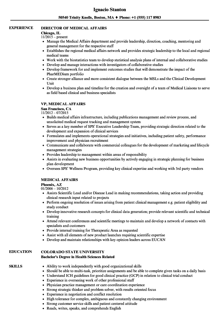 Download Medical Affairs Resume Sample As Image File