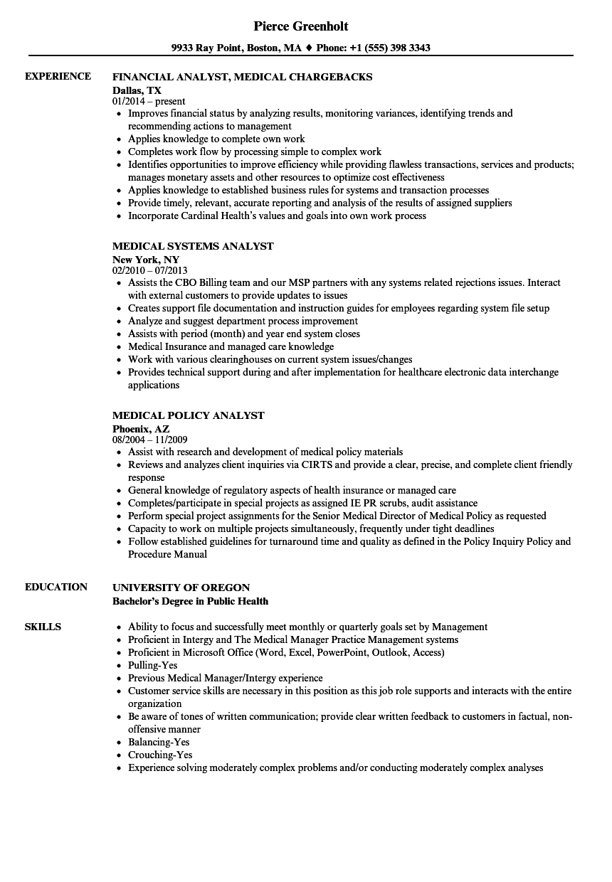 Medical Analyst Resume Samples | Velvet Jobs