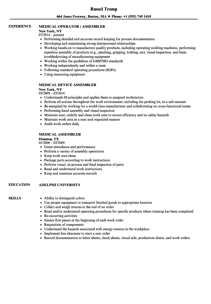 medical assembler resume samples velvet jobs