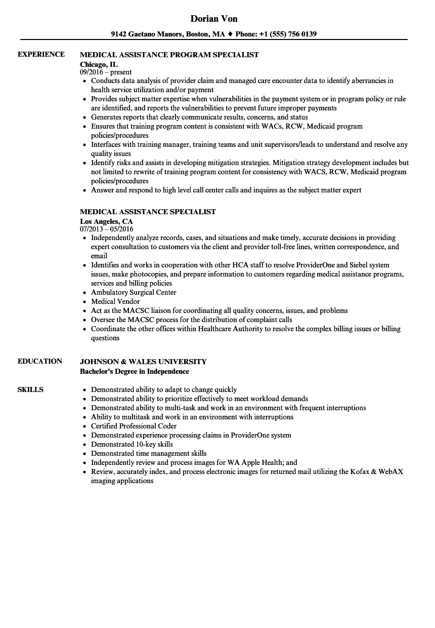 medical assistance specialist resume samples