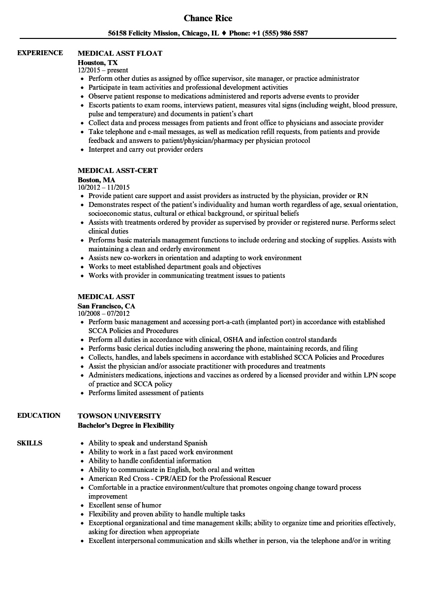 medical assistant qualifications resumes