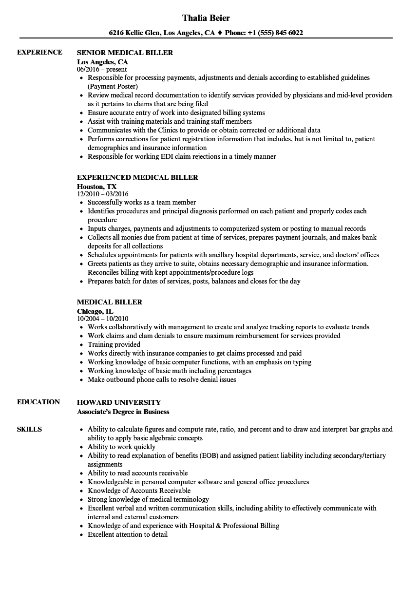 Medical Biller Resume Samples Velvet Jobs