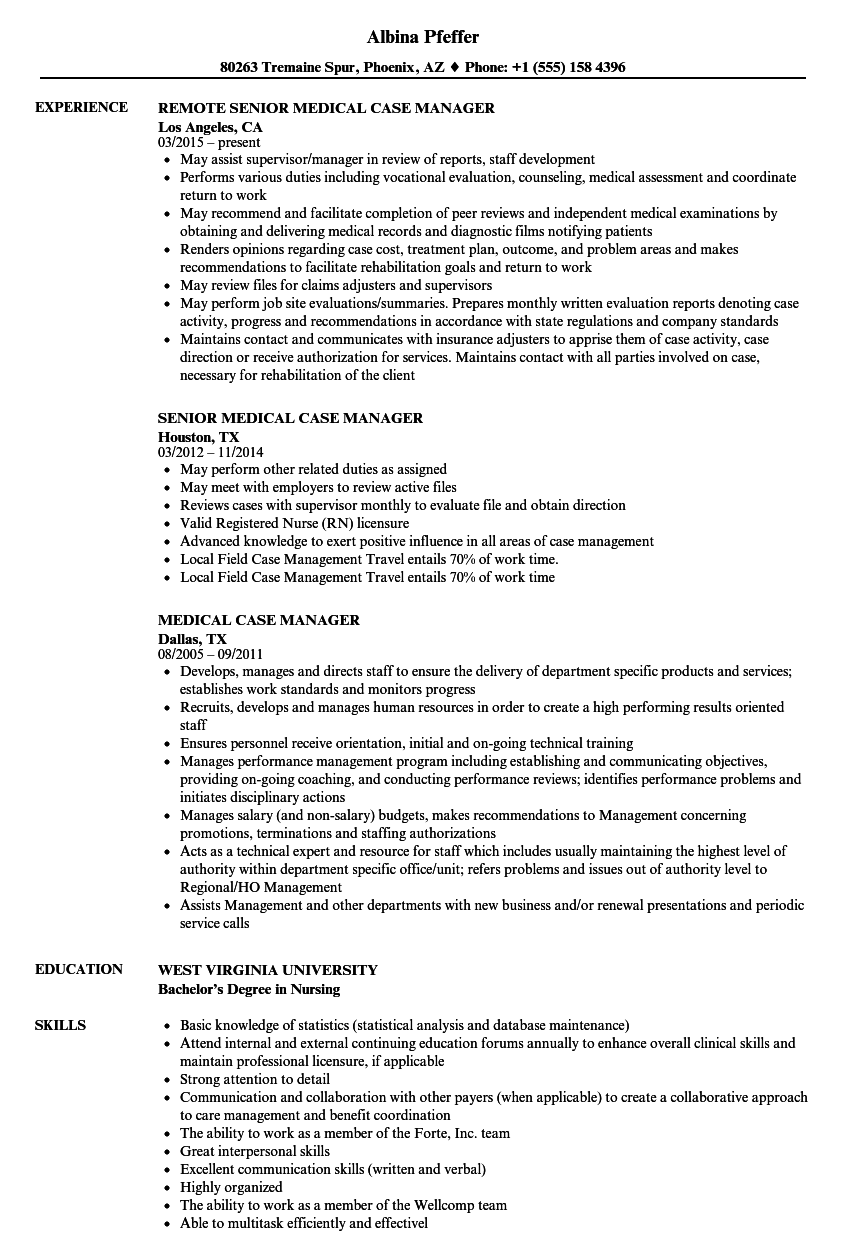 Medical Case Manager Resume Samples | Velvet Jobs