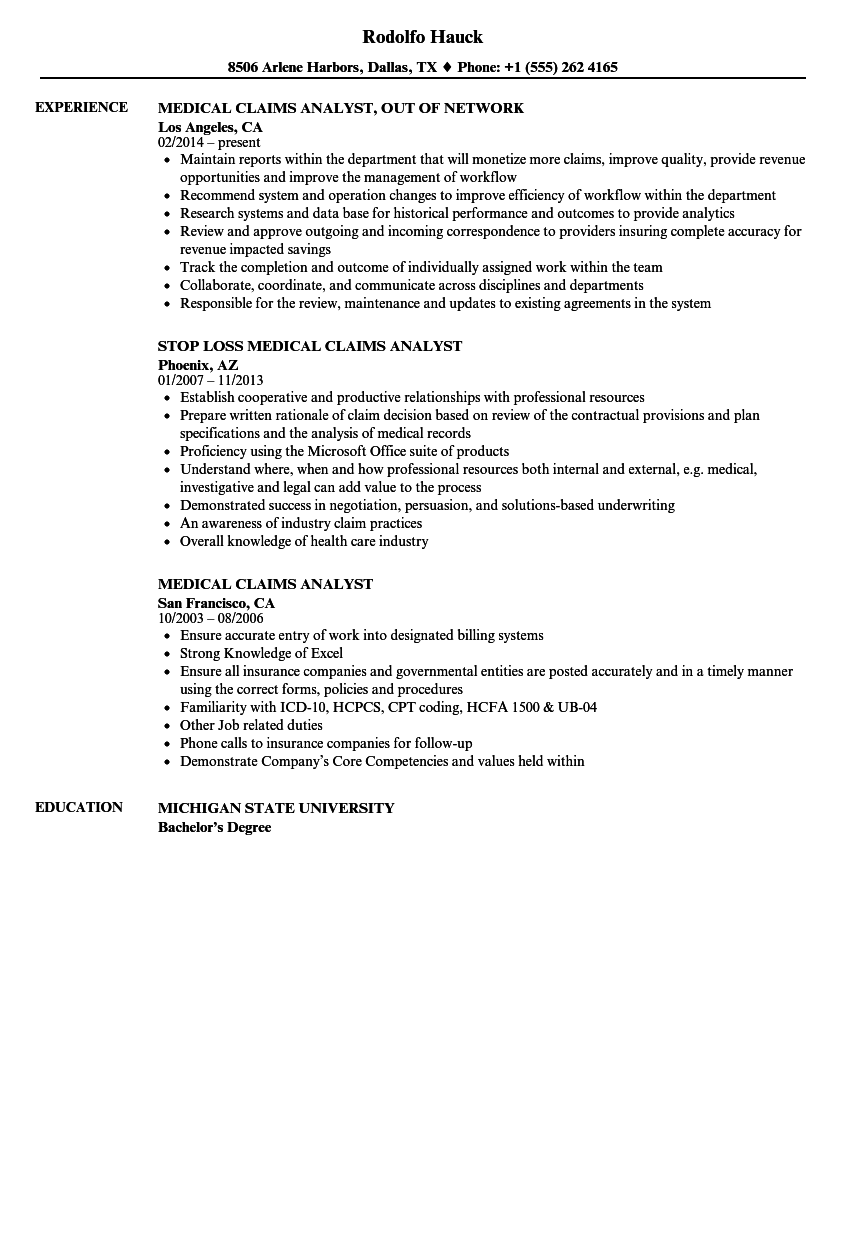 medical claims analyst resume samples