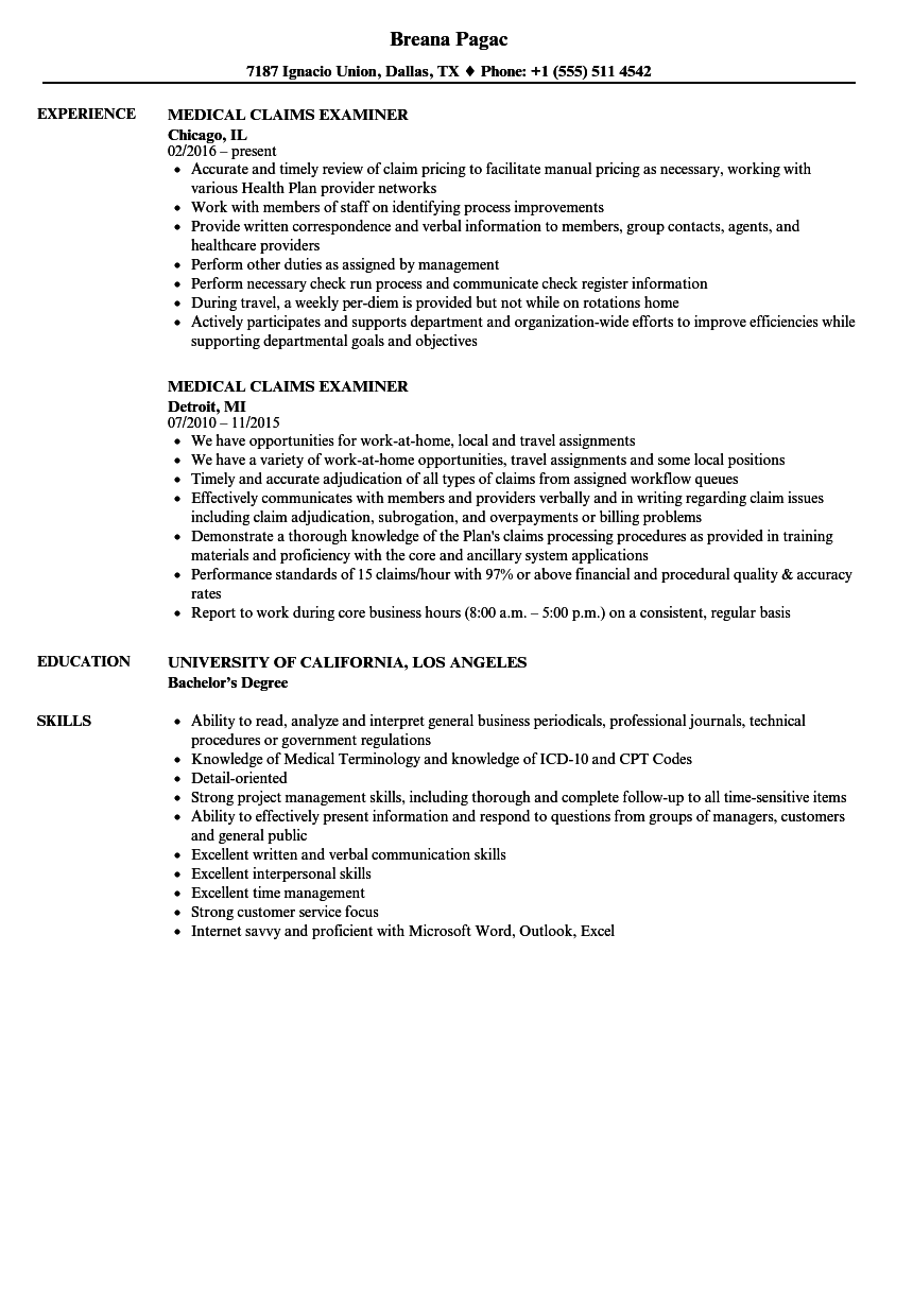 medical claims examiner resume samples
