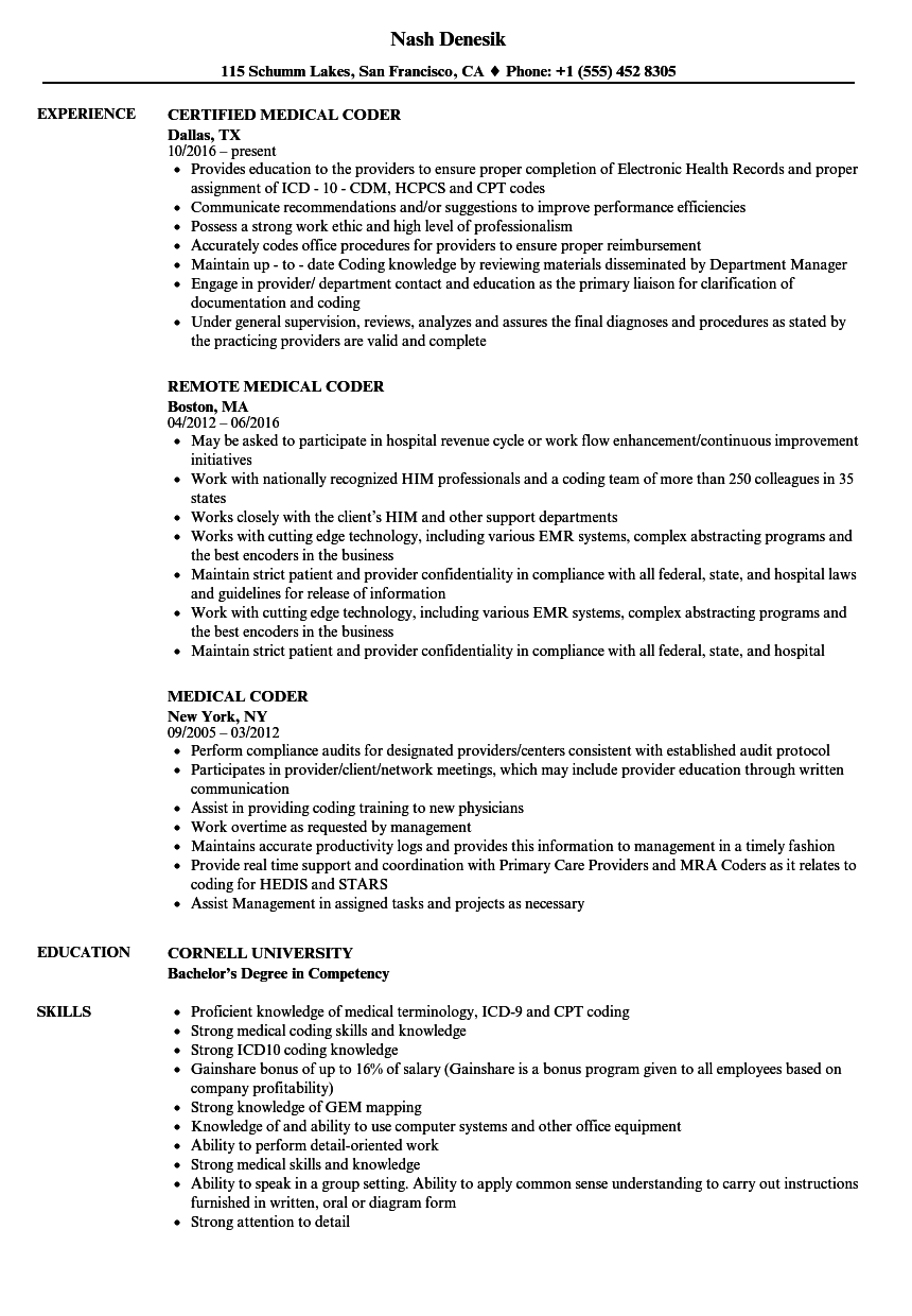 Medical Coder Resume Samples Velvet Jobs