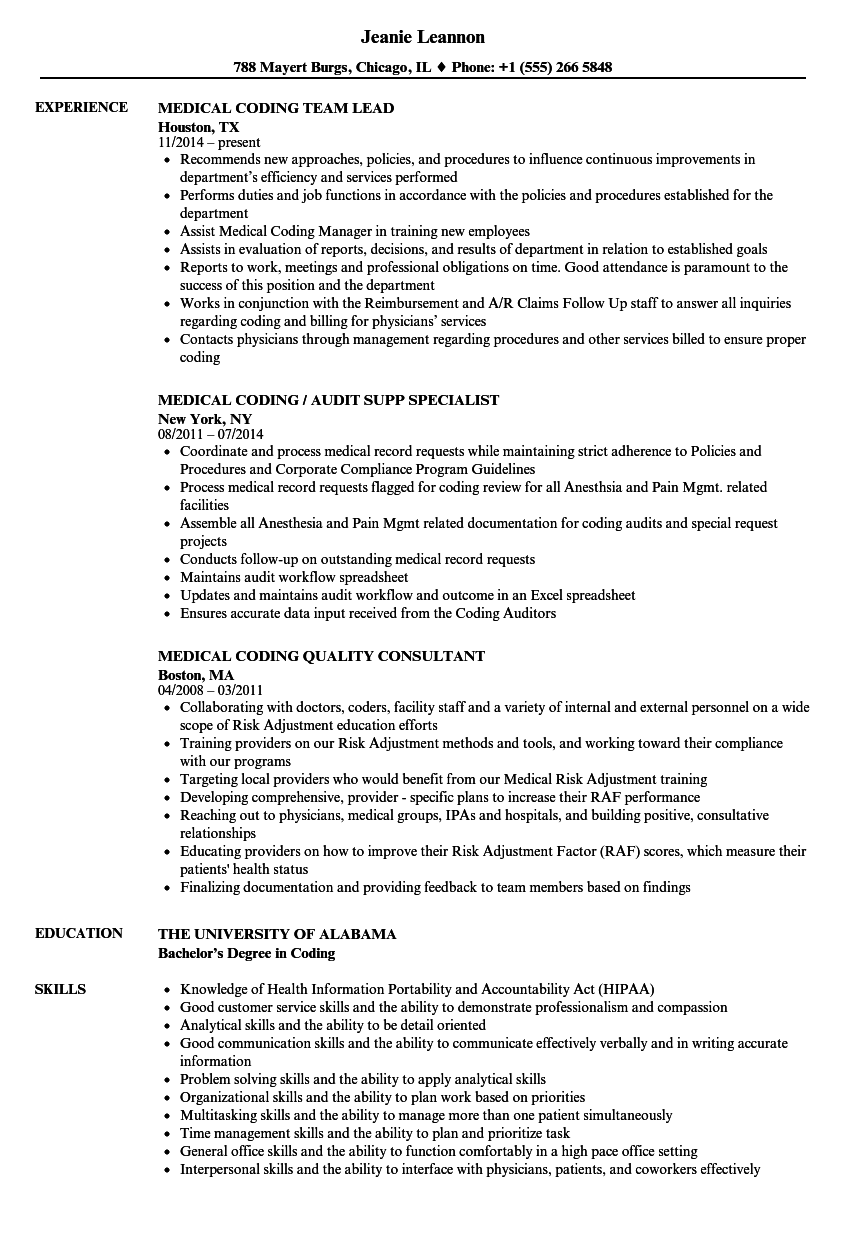 Download Medical Coding Resume Sample As Image File