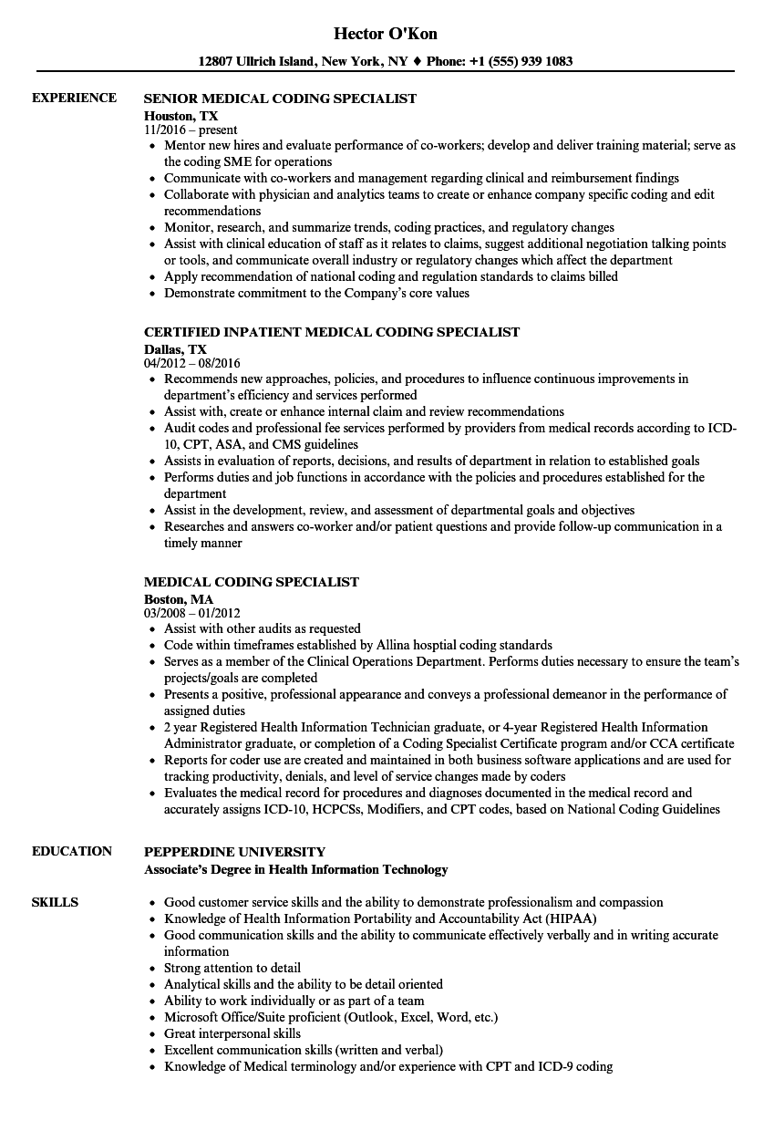 Medical Coding Specialist Resume Samples Velvet Jobs