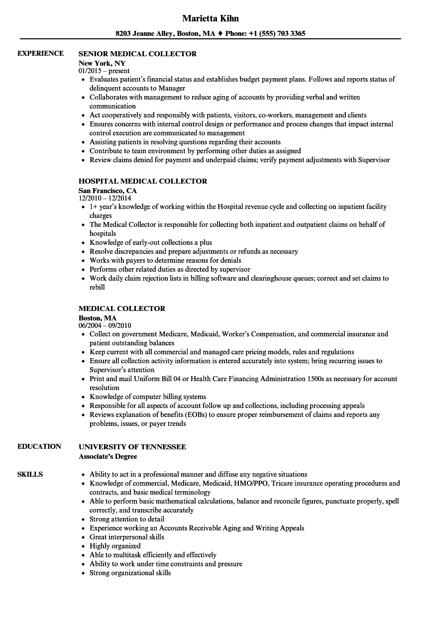 medical collector resume samples